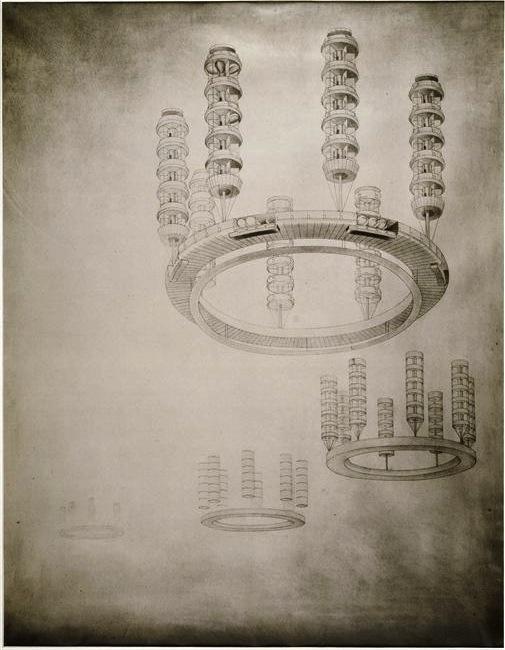 Étude G. Kroutikov pour la ville volante, 1928