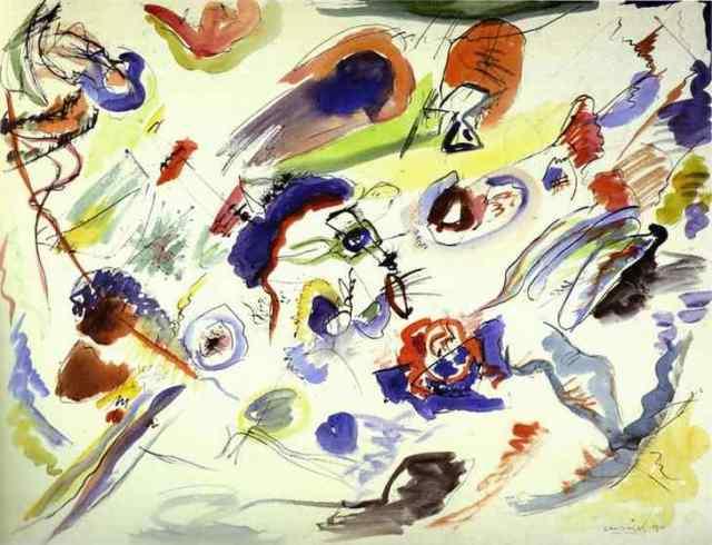 Kandinsky, Première oeuvre non figurative, aquarelle, 1910