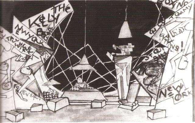 """S. M. Eisensein, dessin de mise en scène du """"Mexicain"""", d'après Jack London, 1921"""