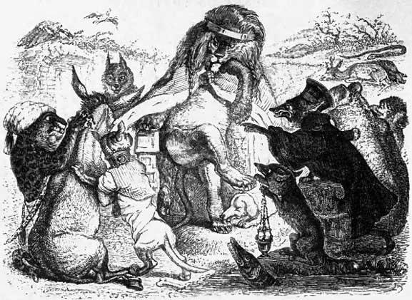 J. J. Grandville, illustration pour Les animaux malades de la peste, de Jean de la Fontaine, (1838-40).
