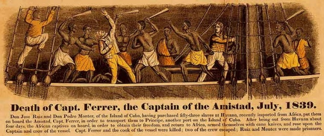Mort du capitaine Ferrer, lors de la mutinerie des esclaves transportés sur l'Amistad, en juillet 1839, gravure en couleurs pour le frontispice de John Warner Barber (1840). A History of the Amistad Captives. New Haven, Connecticut: E.L. and J.W. Barber, Hitchcock & Stafford, Printers