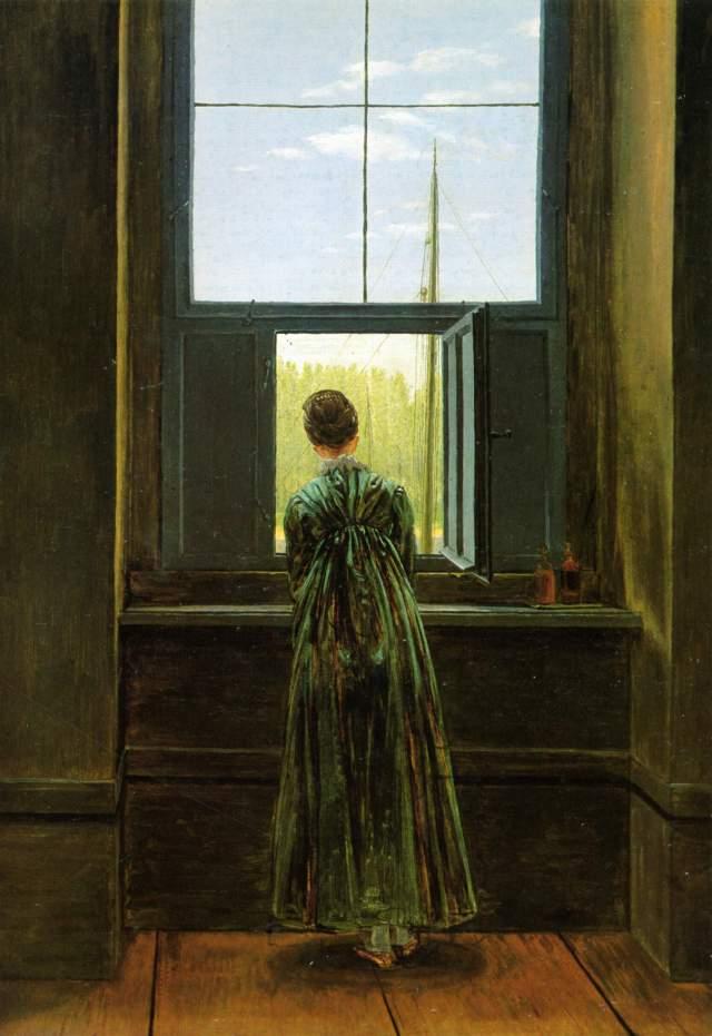 Caspar David Friedrich, Femme à la fenêtre (la femme de l'artiste dans son studio à Dresde, 1822