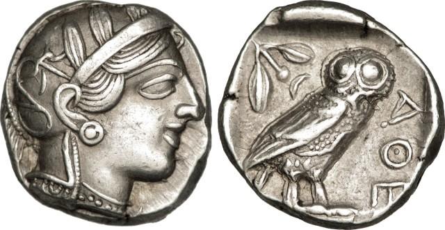 Tétradrachme athénien représentant Athéna, Athènes, environ 410 avant Jésus-Christ.