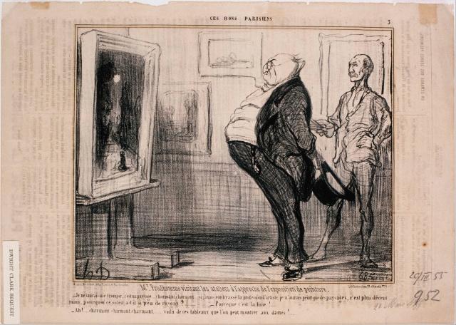 Honoré Daumier, Ces Bons Parisiens, M. Prudhomme visitant les ateliers…, 1855